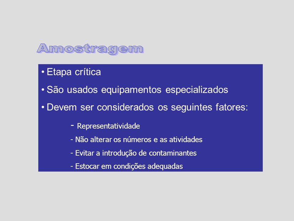 Etapa crítica São usados equipamentos especializados Devem ser considerados os seguintes fatores: - Representatividade - Não alterar os números e as a