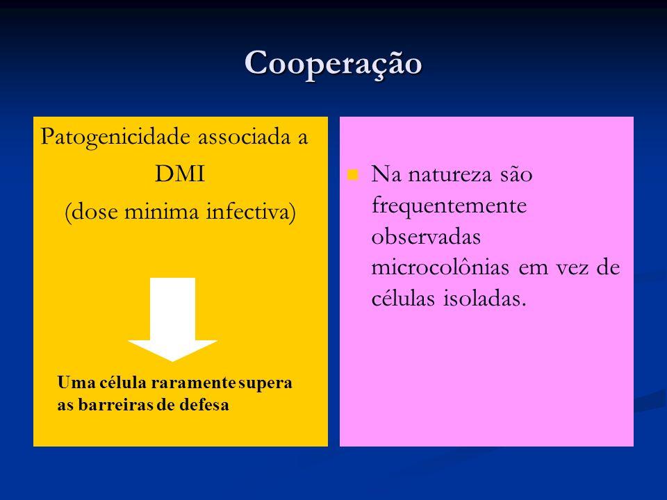 Cooperação Patogenicidade associada a DMI (dose minima infectiva) Na natureza são frequentemente observadas microcolônias em vez de células isoladas.