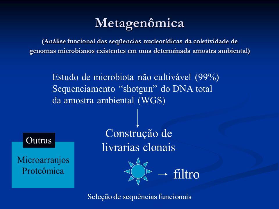 Metagenômica (Análise funcional das seqüencias nucleotídicas da coletividade de genomas microbianos existentes em uma determinada amostra ambiental) E