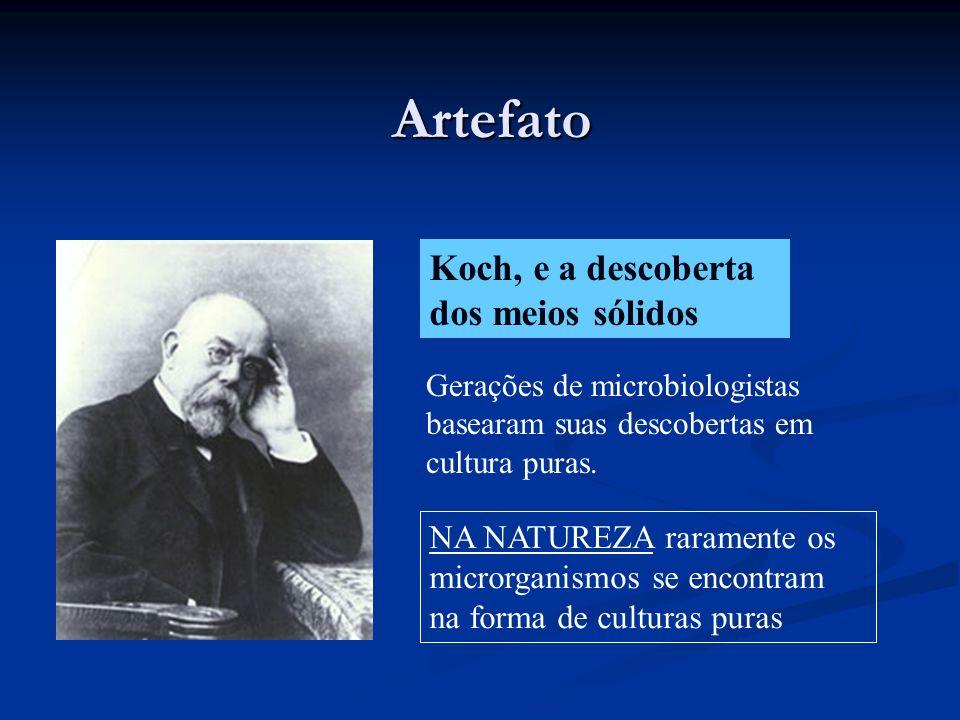 Artefato Koch, e a descoberta dos meios sólidos Gerações de microbiologistas basearam suas descobertas em cultura puras. NA NATUREZA raramente os micr