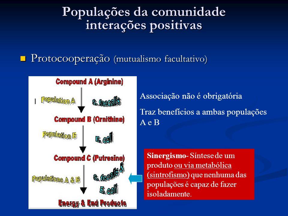 Populações da comunidade interações positivas Protocooperação (mutualismo facultativo) Protocooperação (mutualismo facultativo) Associação não é obrig