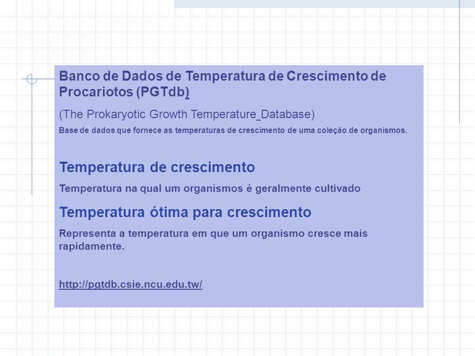 Banco de Dados de Temperatura de Crescimento de Procariotos (PGTdb) (The Prokaryotic Growth Temperature Database) Base de dados que fornece as temperaturas de crescimento de uma coleção de organismos.