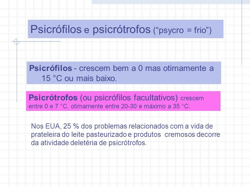 Psicrófilos e psicrótrofos (psycro = frio) Psicrófilos - crescem bem a 0 mas otimamente a 15 °C ou mais baixo.