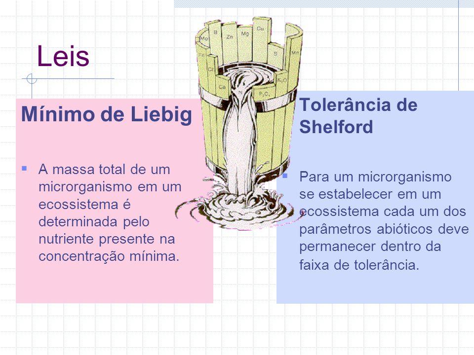 Leis Mínimo de Liebig A massa total de um microrganismo em um ecossistema é determinada pelo nutriente presente na concentração mínima.