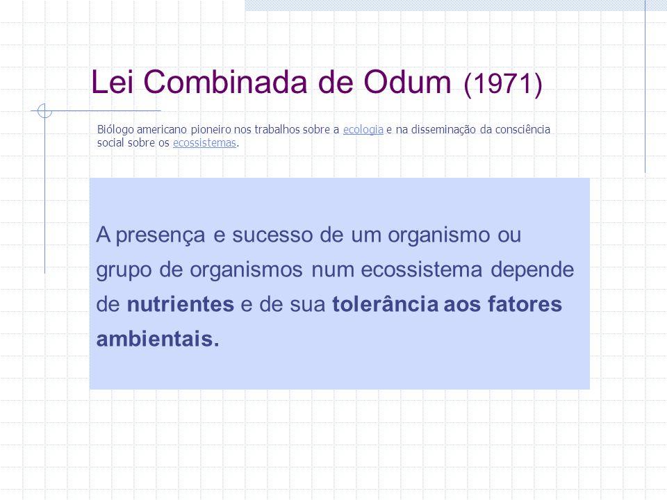 Lei Combinada de Odum (1971) A presença e sucesso de um organismo ou grupo de organismos num ecossistema depende de nutrientes e de sua tolerância aos fatores ambientais.