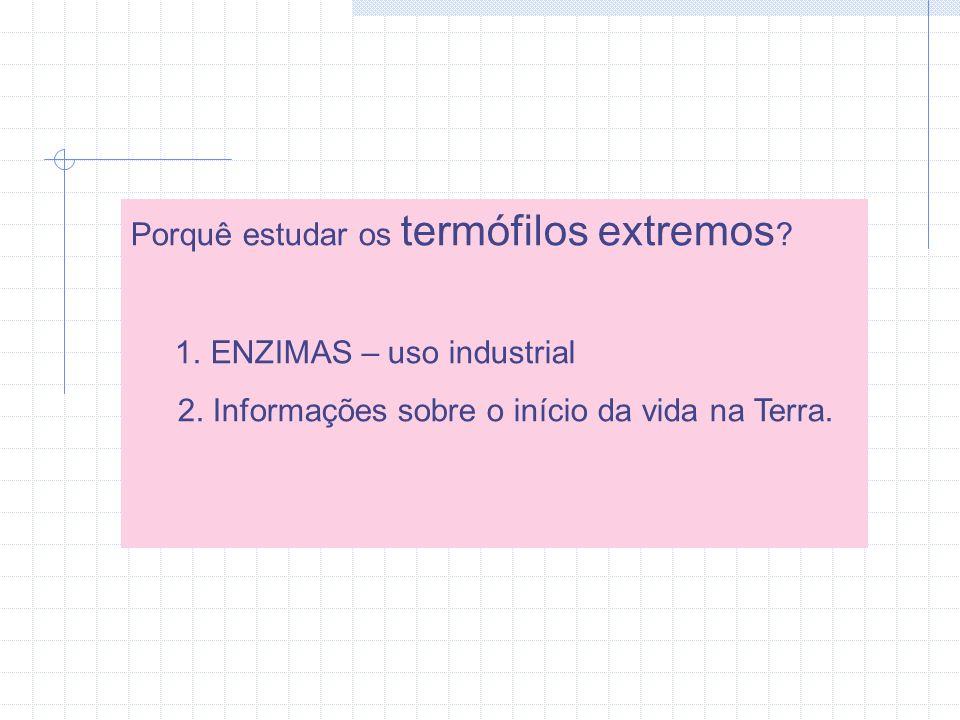Porquê estudar os termófilos extremos .1. ENZIMAS – uso industrial 2.