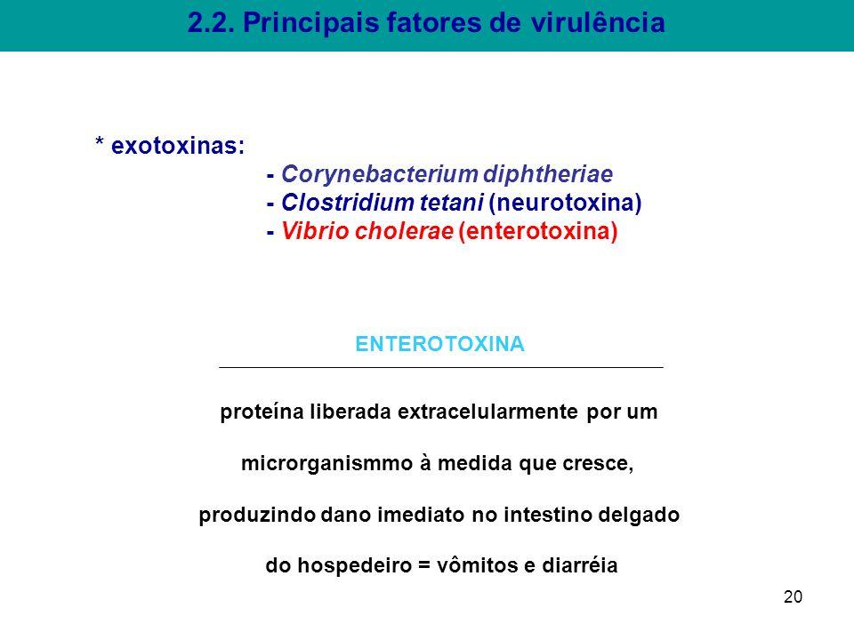 2.2. Principais fatores de virulência * exotoxinas: - Corynebacterium diphtheriae - Clostridium tetani (neurotoxina) - Vibrio cholerae (enterotoxina)