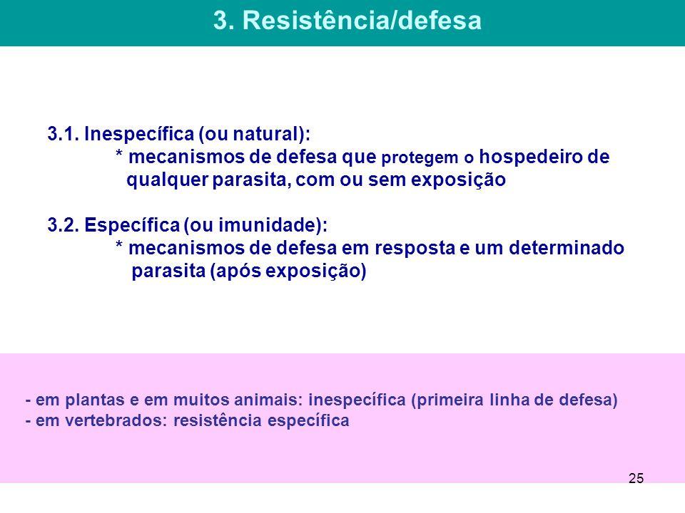 3.1. Inespecífica (ou natural): * mecanismos de defesa que protegem o hospedeiro de qualquer parasita, com ou sem exposição 3.2. Específica (ou imunid