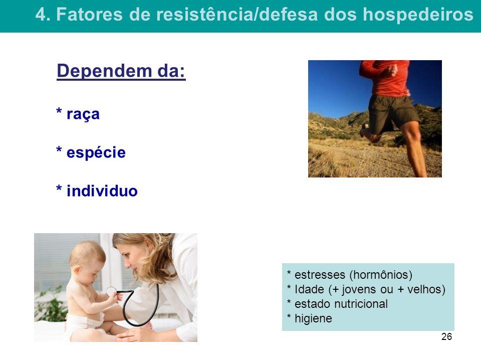 * raça * espécie * individuo * estresses (hormônios) * Idade (+ jovens ou + velhos) * estado nutricional * higiene 4.
