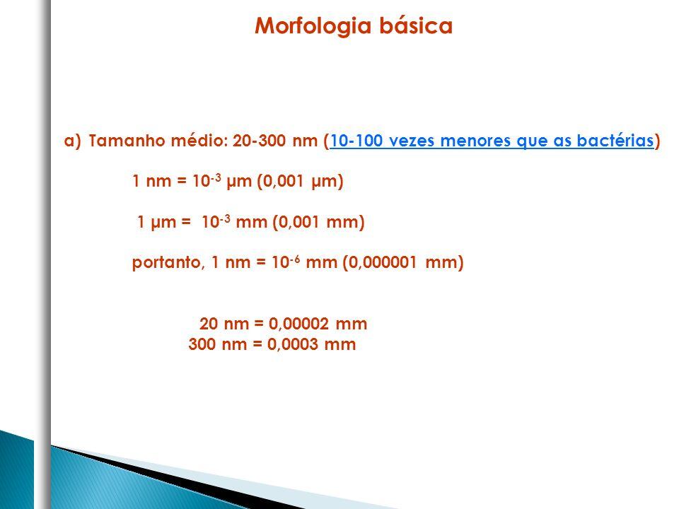 a)Tamanho médio: 20-300 nm (10-100 vezes menores que as bactérias) 1 nm = 10 -3 μm (0,001 μm) 1 μm = 10 -3 mm (0,001 mm) portanto, 1 nm = 10 -6 mm (0,