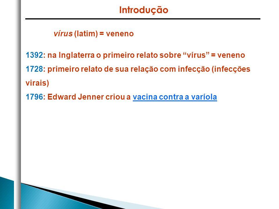 vírus (latim) = veneno 1392: na Inglaterra o primeiro relato sobre vírus = veneno 1728: primeiro relato de sua relação com infecção (infecções virais)