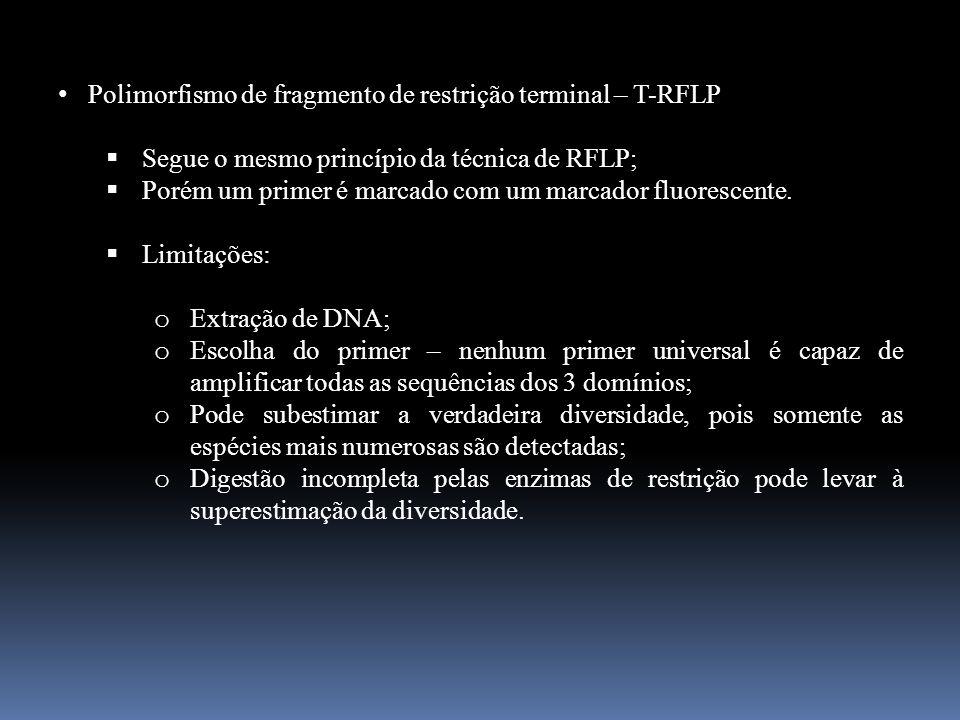 Polimorfismo de fragmento de restrição terminal – T-RFLP Segue o mesmo princípio da técnica de RFLP; Porém um primer é marcado com um marcador fluores