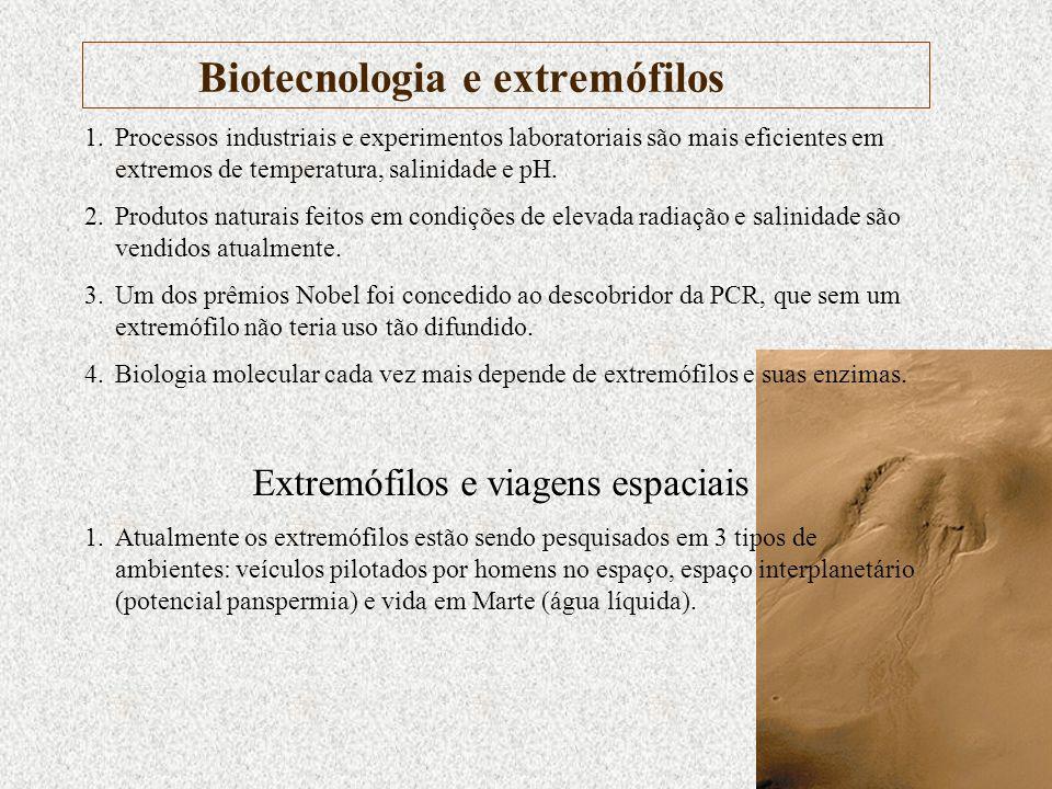 Biotecnologia e extremófilos 1.Processos industriais e experimentos laboratoriais são mais eficientes em extremos de temperatura, salinidade e pH. 2.P