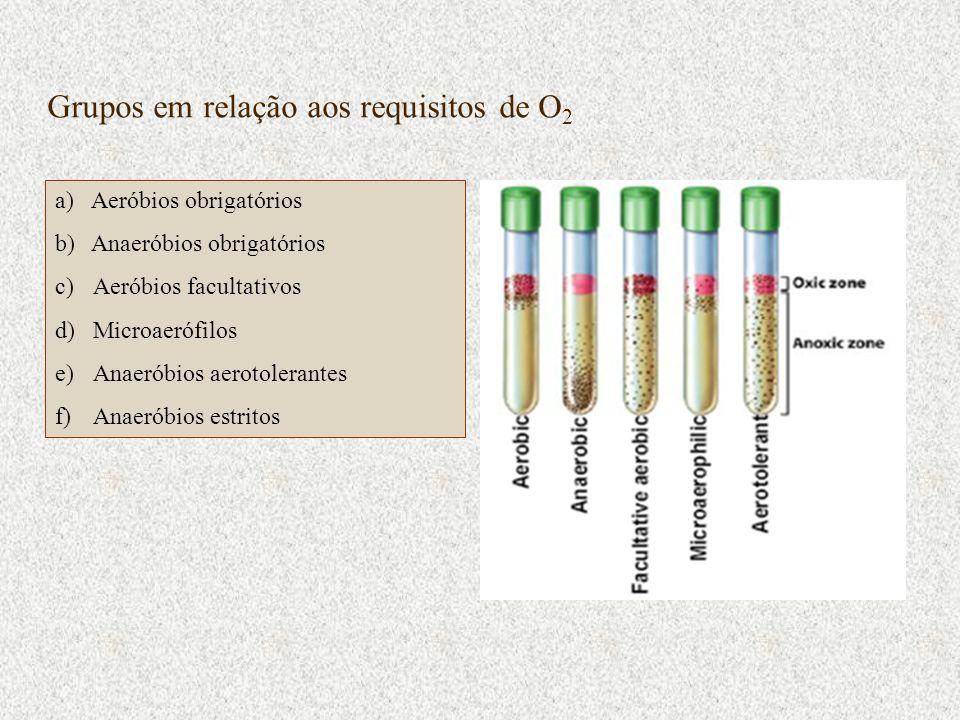 Grupos em relação aos requisitos de O 2 a)Aeróbios obrigatórios b)Anaeróbios obrigatórios c)Aeróbios facultativos d)Microaerófilos e)Anaeróbios aeroto