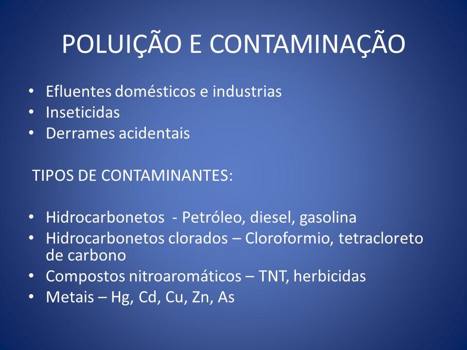 POLUIÇÃO E CONTAMINAÇÃO Efluentes domésticos e industrias Inseticidas Derrames acidentais TIPOS DE CONTAMINANTES: Hidrocarbonetos - Petróleo, diesel,