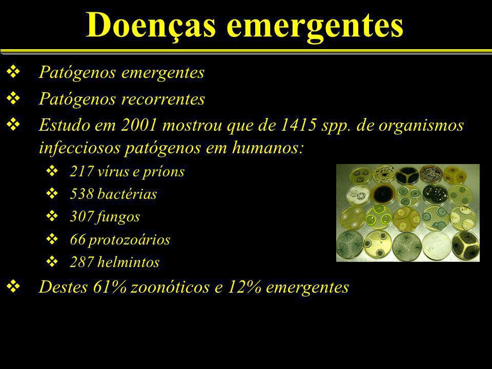 Doenças emergentes Patógenos emergentes Patógenos recorrentes Estudo em 2001 mostrou que de 1415 spp.