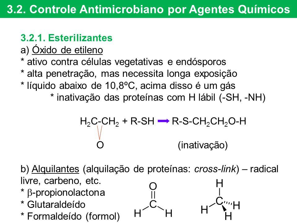 3.2. Controle Antimicrobiano por Agentes Químicos 3.2.1. Esterilizantes a) Óxido de etileno * ativo contra células vegetativas e endósporos * alta pen