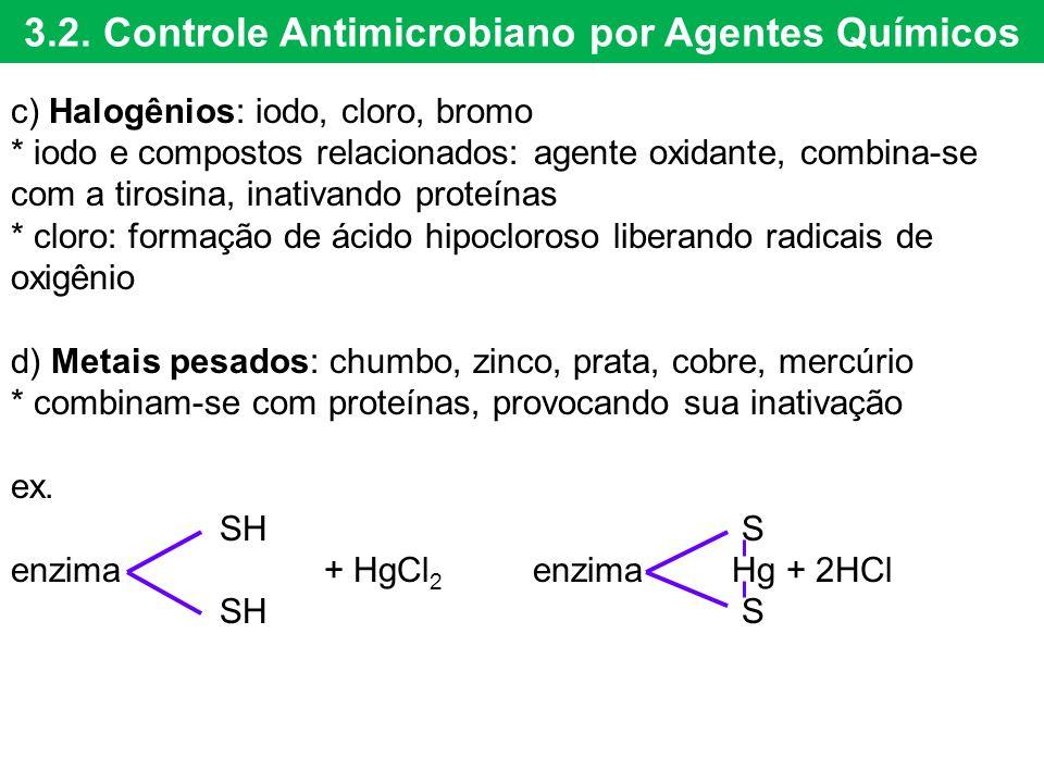 3.2. Controle Antimicrobiano por Agentes Químicos c) Halogênios: iodo, cloro, bromo * iodo e compostos relacionados: agente oxidante, combina-se com a