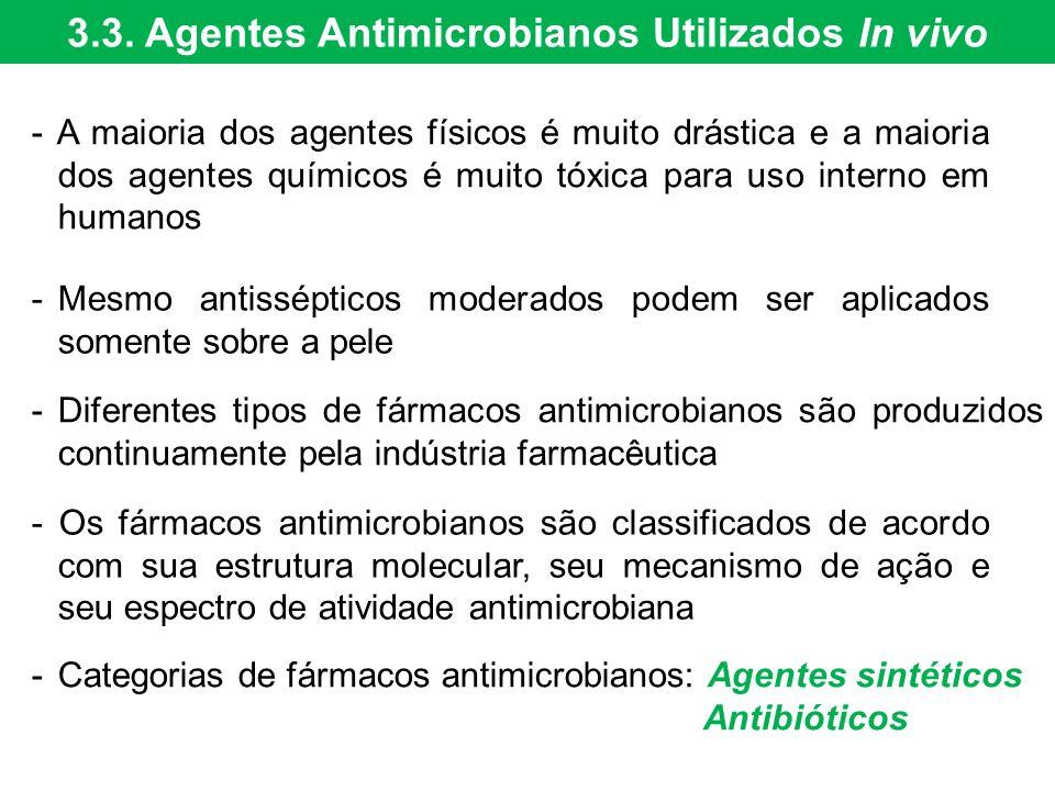 3.3. Agentes Antimicrobianos Utilizados In vivo - A maioria dos agentes físicos é muito drástica e a maioria dos agentes químicos é muito tóxica para