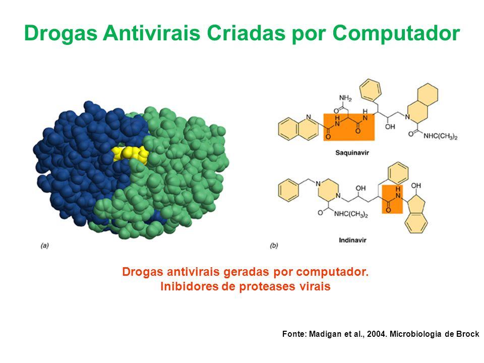 Drogas Antivirais Criadas por Computador Drogas antivirais geradas por computador. Inibidores de proteases virais Fonte: Madigan et al., 2004. Microbi