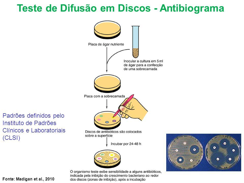 Fonte: Madigan et al., 2010 Teste de Difusão em Discos - Antibiograma Padrões definidos pelo Instituto de Padrões Clínicos e Laboratoriais (CLSI)