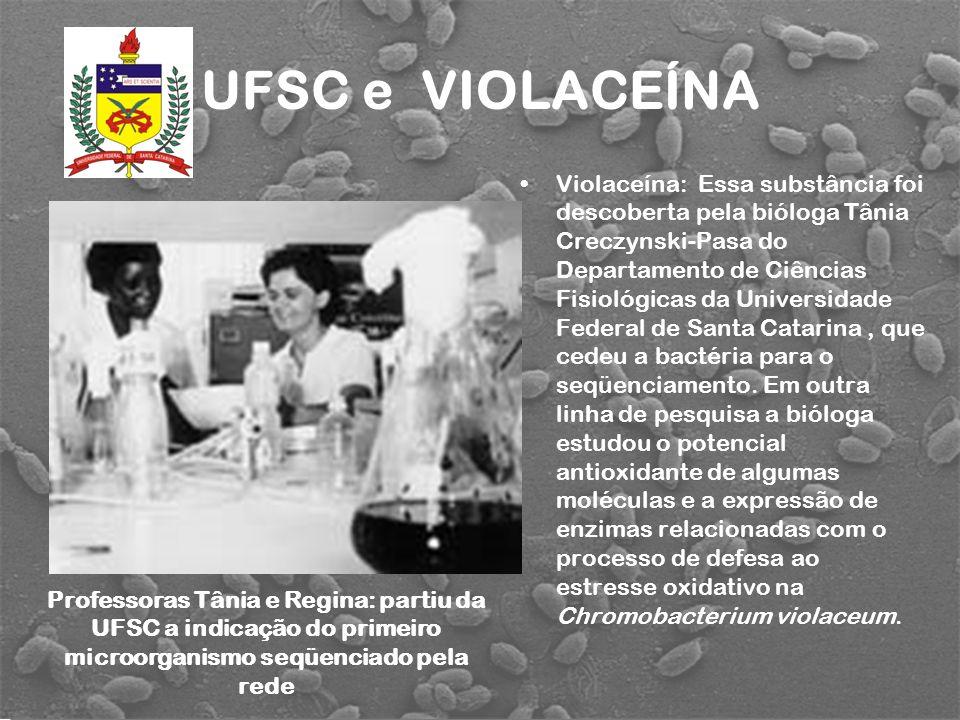 UFSC e VIOLACEÍNA Violaceína: Essa substância foi descoberta pela bióloga Tânia Creczynski-Pasa do Departamento de Ciências Fisiológicas da Universida