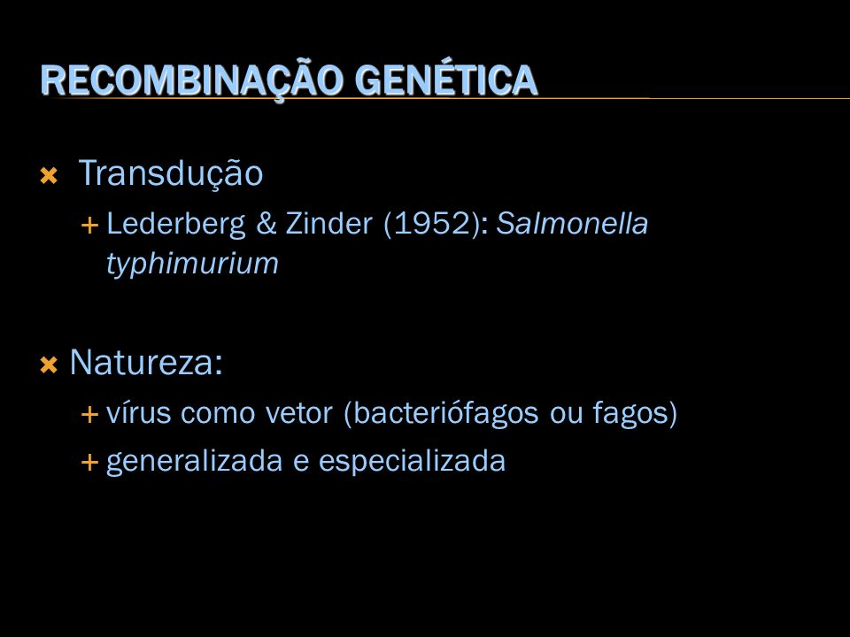 RECOMBINAÇÃO GENÉTICA Transdução Lederberg & Zinder (1952): Salmonella typhimurium Natureza: vírus como vetor (bacteriófagos ou fagos) generalizada e