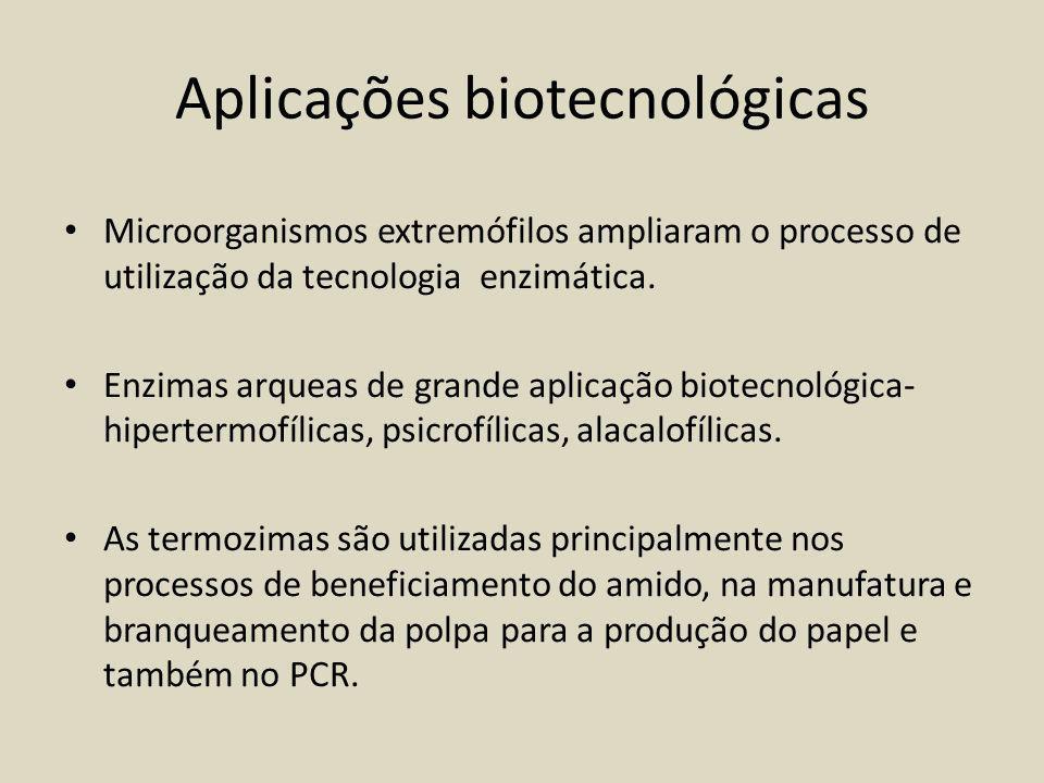 Aplicações biotecnológicas Microorganismos extremófilos ampliaram o processo de utilização da tecnologia enzimática.