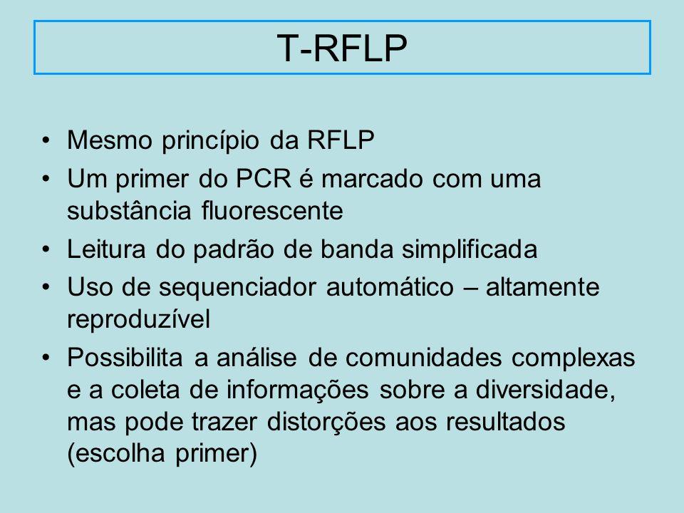 Mesmo princípio da RFLP Um primer do PCR é marcado com uma substância fluorescente Leitura do padrão de banda simplificada Uso de sequenciador automát