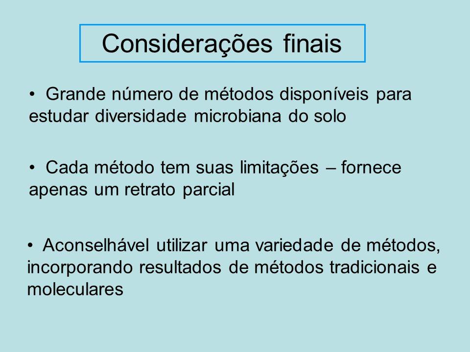 Considerações finais Grande número de métodos disponíveis para estudar diversidade microbiana do solo Cada método tem suas limitações – fornece apenas