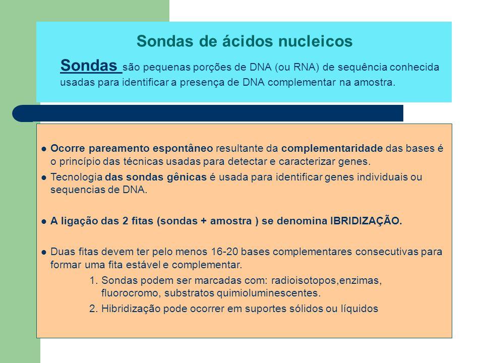 Sondas de ácidos nucleicos Sondas são pequenas porções de DNA (ou RNA) de sequência conhecida usadas para identificar a presença de DNA complementar n