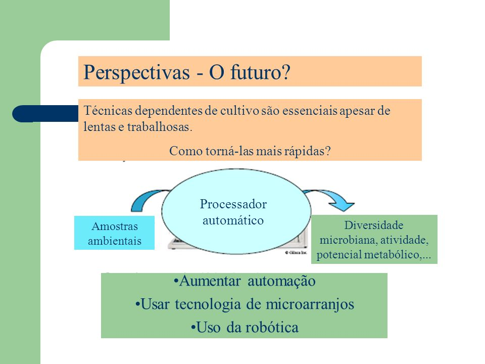 Perspectivas - O futuro? Técnicas dependentes de cultivo são essenciais apesar de lentas e trabalhosas. Como torná-las mais rápidas? Processador autom