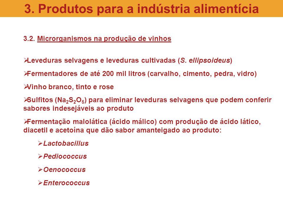 3.2. Microrganismos na produção de vinhos Leveduras selvagens e leveduras cultivadas (S. ellipsoideus) Fermentadores de até 200 mil litros (carvalho,