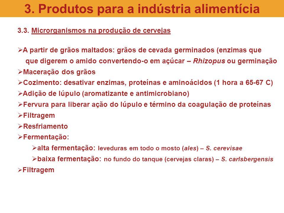 3.3. Microrganismos na produção de cervejas A partir de grãos maltados: grãos de cevada germinados (enzimas que que digerem o amido convertendo-o em a
