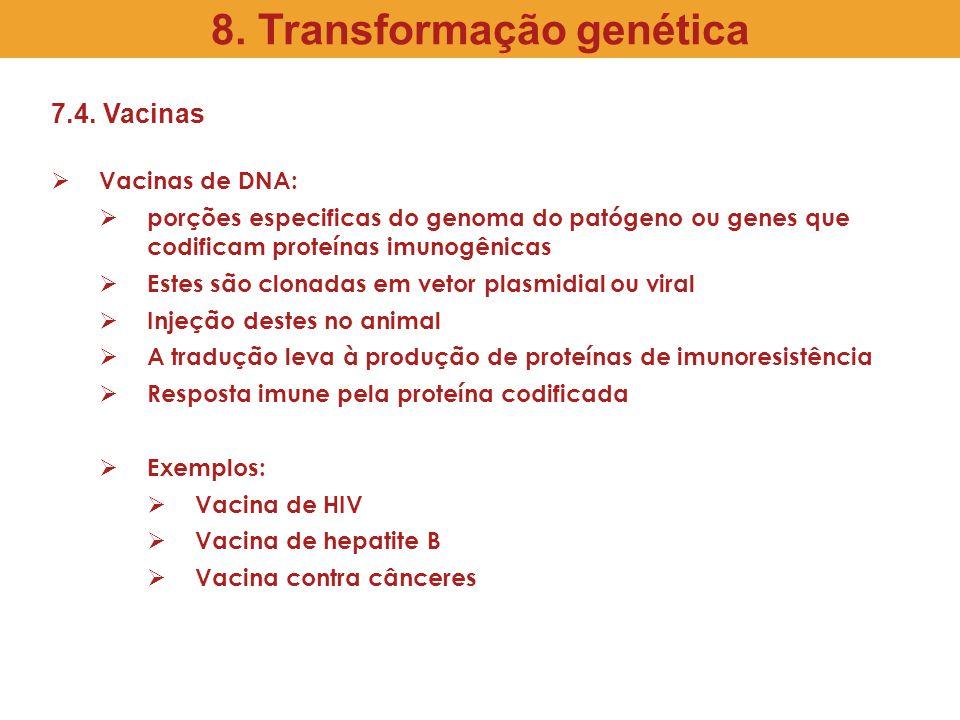 7.4. Vacinas Vacinas de DNA: porções especificas do genoma do patógeno ou genes que codificam proteínas imunogênicas Estes são clonadas em vetor plasm