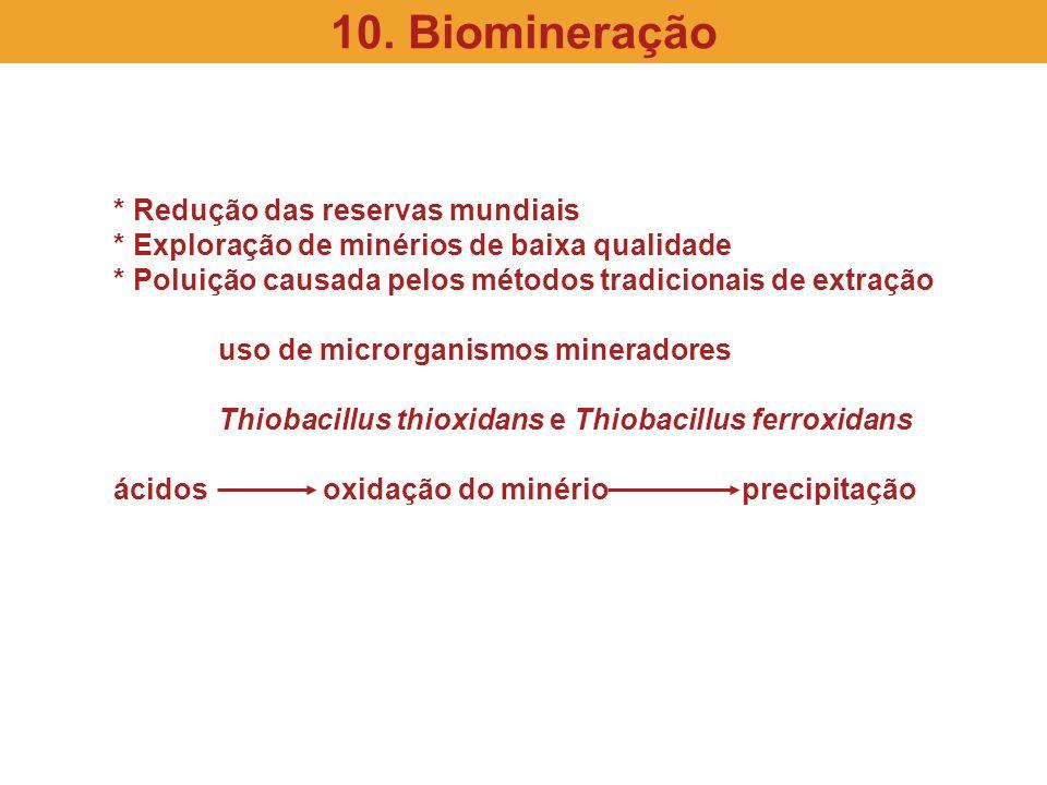 * Redução das reservas mundiais * Exploração de minérios de baixa qualidade * Poluição causada pelos métodos tradicionais de extração uso de microrgan