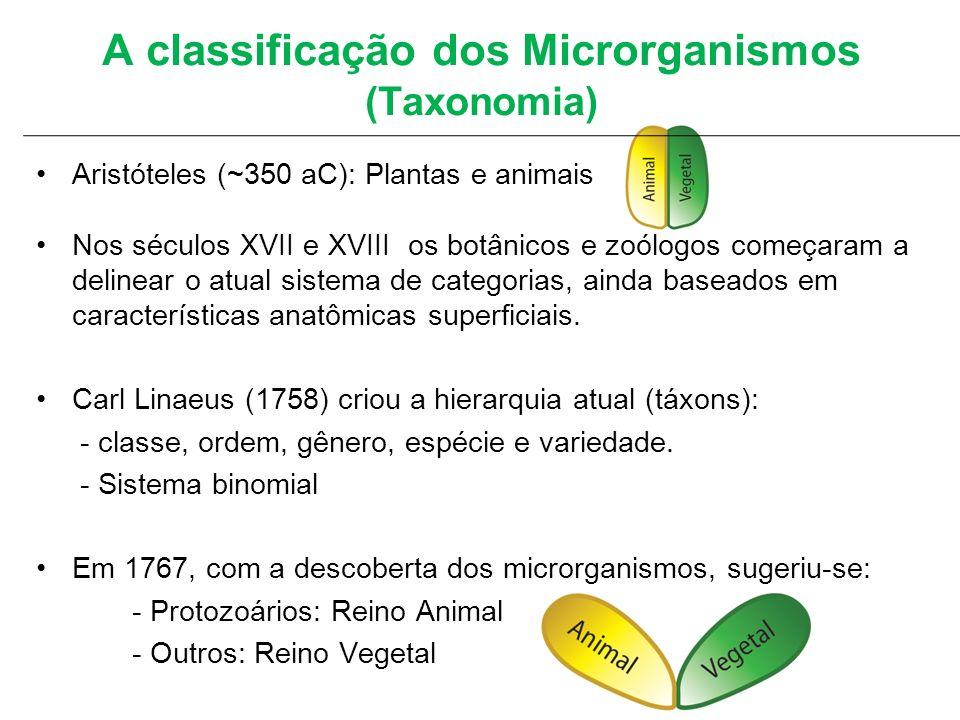 A classificação dos Microrganismos (Taxonomia) Aristóteles (~350 aC): Plantas e animais Nos séculos XVII e XVIII os botânicos e zoólogos começaram a d