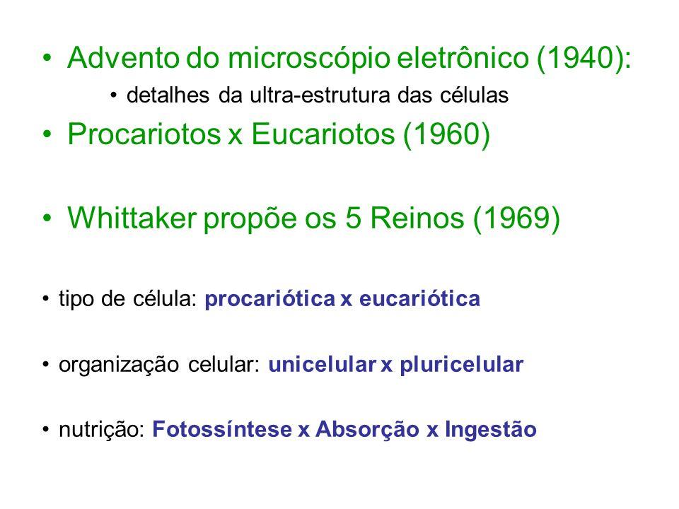 Whittaker propõe os 5 Reinos (1969) tipo de célula: procariótica x eucariótica organização celular: unicelular x pluricelular nutrição: Fotossíntese x