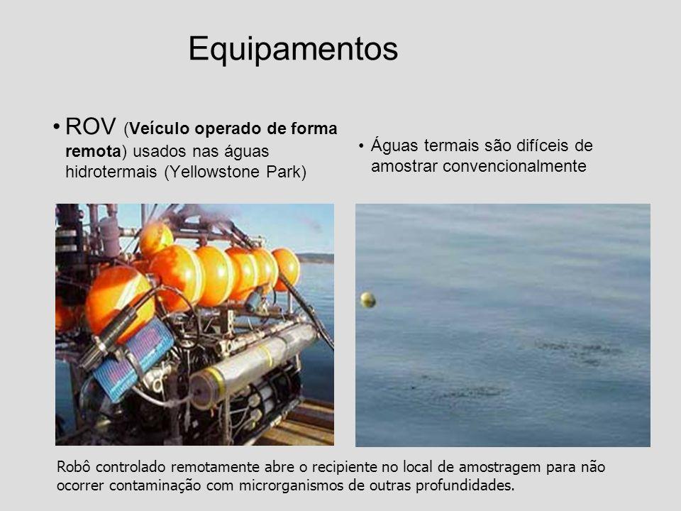 Equipamentos ROV (Veículo operado de forma remota) usados nas águas hidrotermais (Yellowstone Park) Águas termais são difíceis de amostrar convenciona