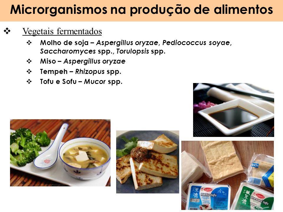 Microrganismos na produção de alimentos 27 Vegetais fermentados Molho de soja – Aspergillus oryzae, Pediococcus soyae, Saccharomyces spp., Torulopsis