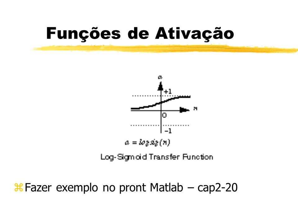 Funções de Ativação z Fazer exemplo no pront Matlab – cap2-20