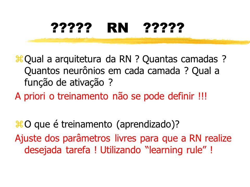 ????? RN ????? zQual a arquitetura da RN ? Quantas camadas ? Quantos neurônios em cada camada ? Qual a função de ativação ? A priori o treinamento não