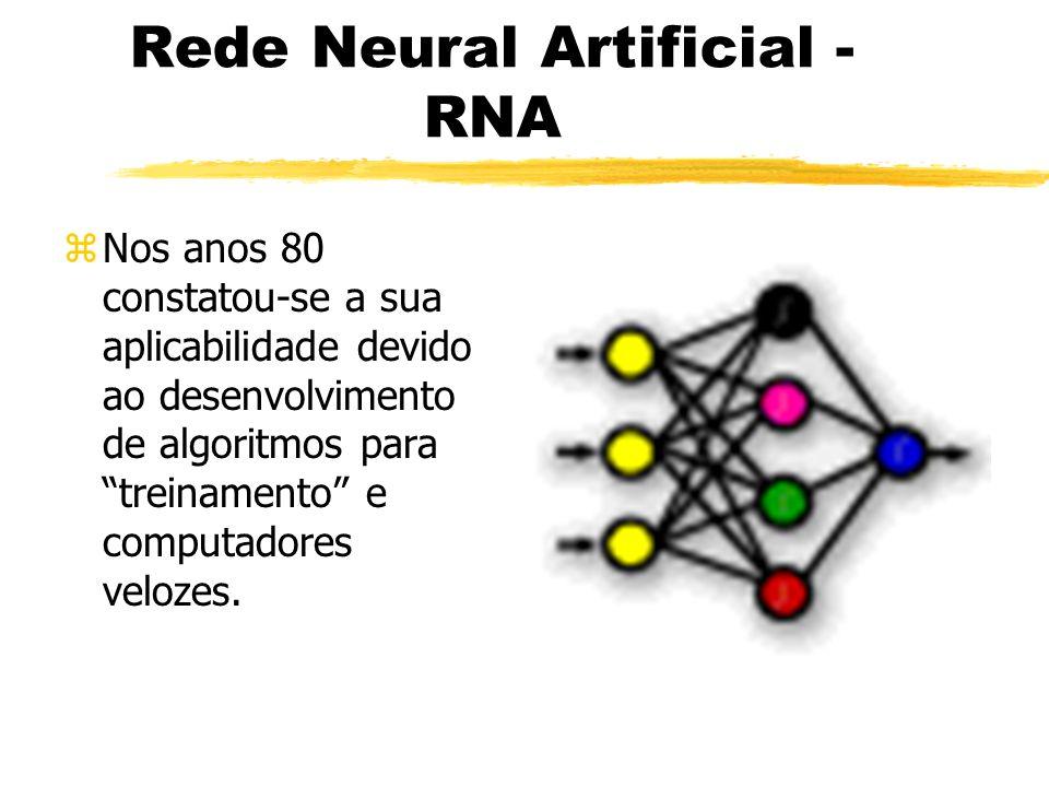 Rede Neural Artificial - RNA zNos anos 80 constatou-se a sua aplicabilidade devido ao desenvolvimento de algoritmos para treinamento e computadores ve