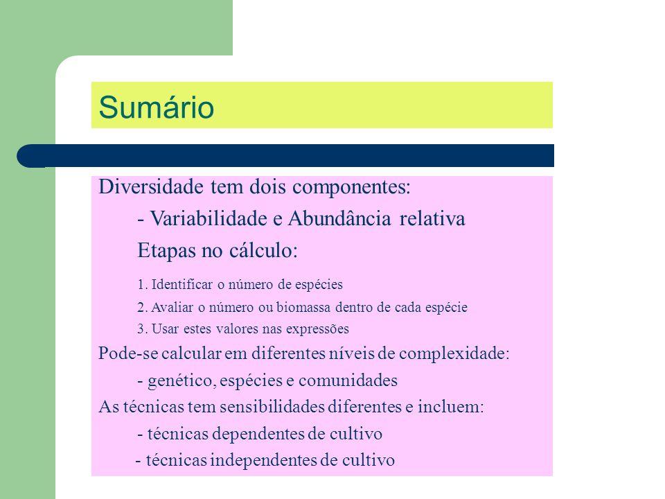 Sumário Diversidade tem dois componentes: - Variabilidade e Abundância relativa Etapas no cálculo: 1. Identificar o número de espécies 2. Avaliar o nú