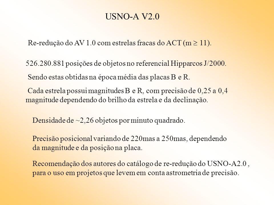 USNO-A V2.0 526.280.881 posições de objetos no referencial Hipparcos J/2000. Sendo estas obtidas na época média das placas B e R. Cada estrela possui