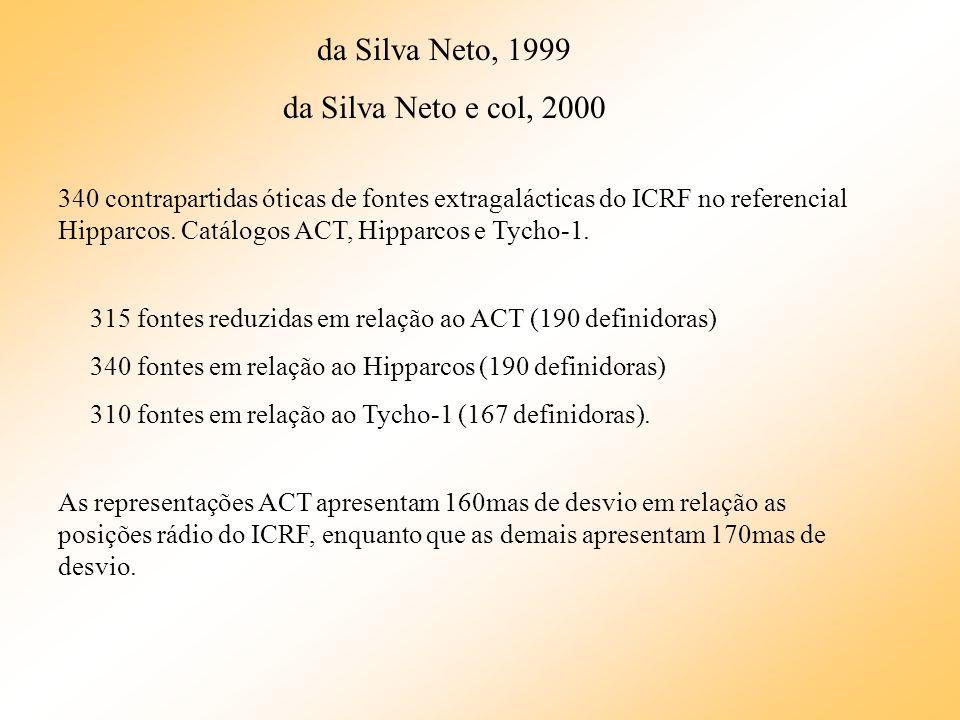 da Silva Neto, 1999 da Silva Neto e col, 2000 340 contrapartidas óticas de fontes extragalácticas do ICRF no referencial Hipparcos. Catálogos ACT, Hip