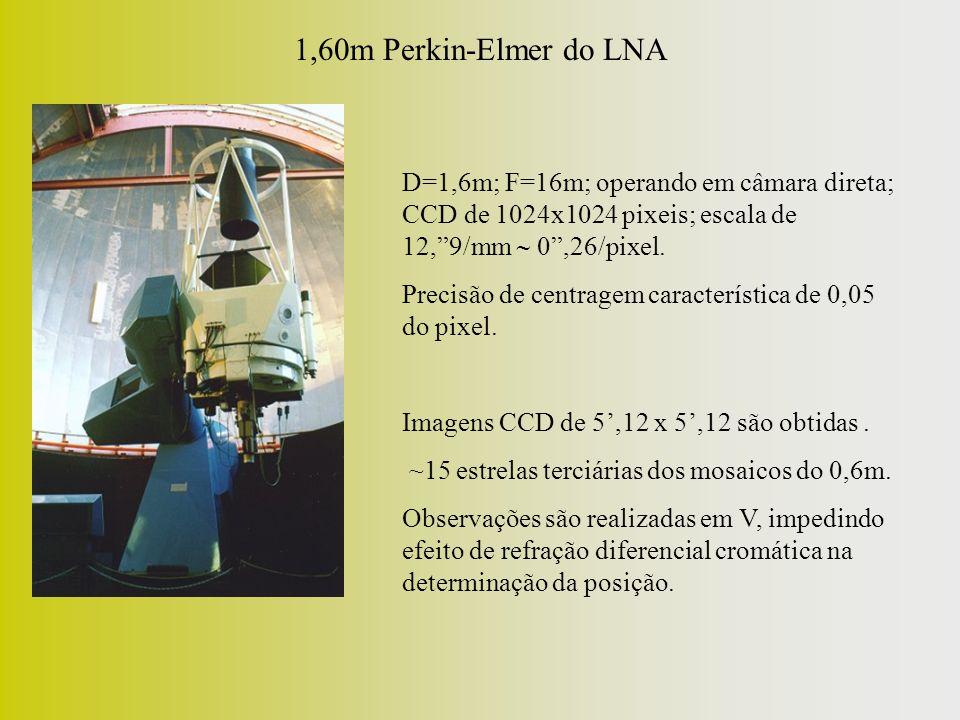 1,60m Perkin-Elmer do LNA D=1,6m; F=16m; operando em câmara direta; CCD de 1024x1024 pixeis; escala de 12,9/mm 0,26/pixel. Precisão de centragem carac