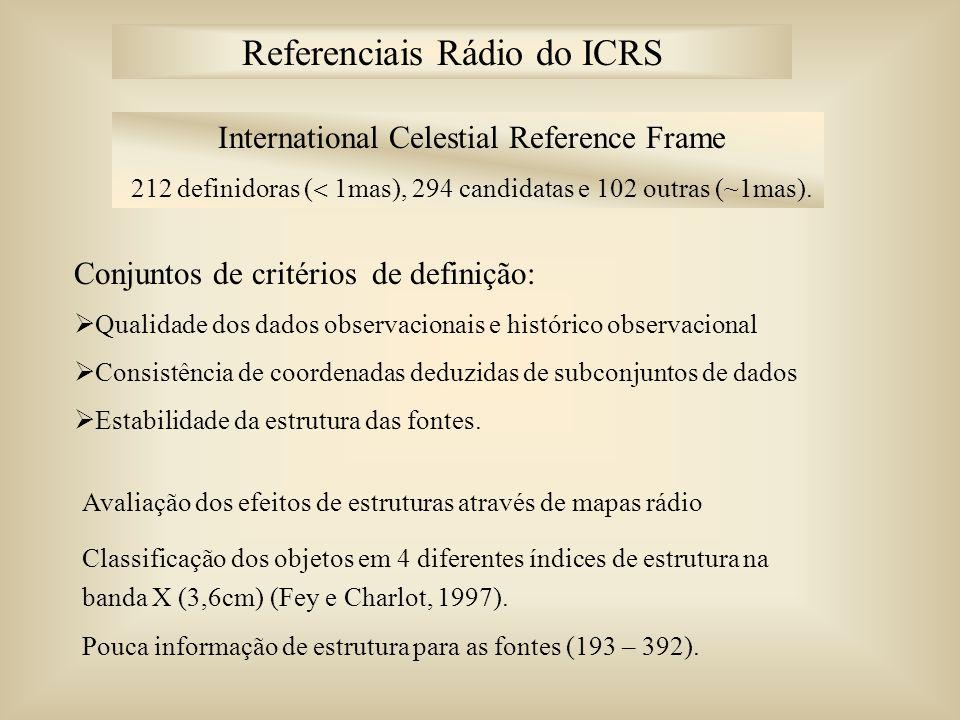 International Celestial Reference Frame 212 definidoras ( 1mas), 294 candidatas e 102 outras (~1mas). Conjuntos de critérios de definição: Qualidade d