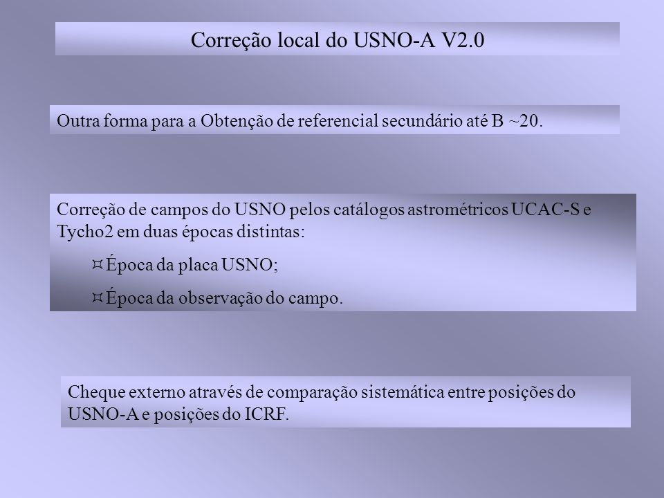 Correção local do USNO-A V2.0 Outra forma para a Obtenção de referencial secundário até B ~20. Cheque externo através de comparação sistemática entre