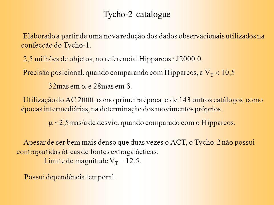 Elaborado a partir de uma nova redução dos dados observacionais utilizados na confecção do Tycho-1. 2,5 milhões de objetos, no referencial Hipparcos /